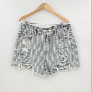 AEO 90'S Boyfriend Shorts Stripes Distressed